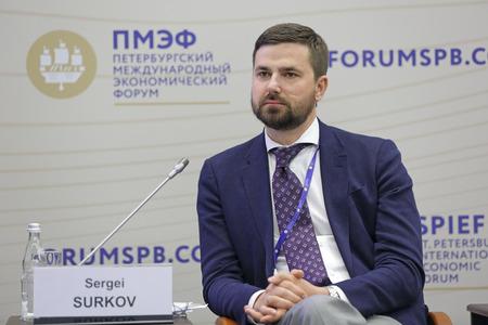 governor: SAINT-PETERSBURG, RUSSIA - JUN 18, 2016: St. Petersburg International Economic Forum SPIEF-2016. Sergei Surkov, Deputy Governor of Nenets Autonomous Area for Federal Government Relations