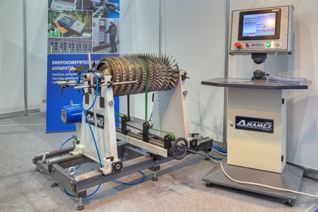 aeroengine: ZHUKOVSKY, MOSCOW REGION, RUSSIA - AUG 30, 2015: The stand of the company DIAMECH Ltd. Industrial balancing equipment and vibration measuring equipment at the International Aviation and Space salon MAKS-2015