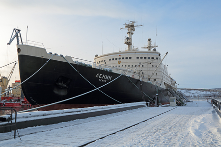 MURMANSK, RUSSIA - FEB 17, 2016: Lenin is a Soviet nuclear-powered icebreaker. Launched in 1957, it was both the worlds first nuclear-powered surface ship and the first nuclear-powered civilian vessel