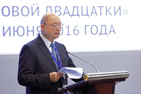 governor: SAINT-PETERSBURG, RUSSIA - JUN 16, 2016: St. Petersburg International Economic Forum SPIEF-2016. Chen Yuan - Alternate Member, 17th CPC, Central Committee; Governor, China Development Bank