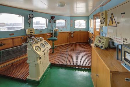 MURMANSK, RUSSIA - FEB 17, 2016: Interior of the Soviet atomic icebreaker Lenin. Pilot house, engine order telegraph