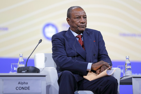 statesman: SAINT-PETERSBURG, RUSSIA - JUN 16, 2016: St. Petersburg International Economic Forum SPIEF-2016. President of Guinea Alpha Conde