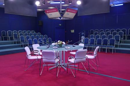 roundtable: SAINT-PETERSBURG, RUSSIA - JUN 18, 2016: St. Petersburg International Economic Forum SPIEF-2016. Roundtable in empty conference room