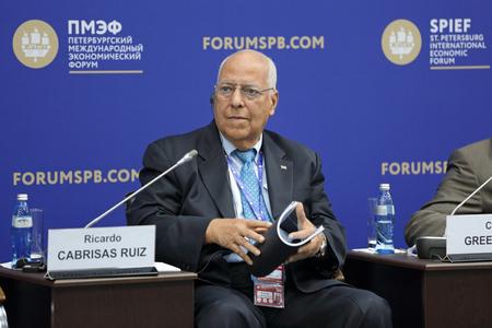 ruiz: SAINT-PETERSBURG, RUSSIA - JUN 17, 2016: St. Petersburg International Economic Forum SPIEF-2016. Ricardo Cabrisas Ruiz, Deputy Chairman of the Council of Ministers of the Republic of Cuba