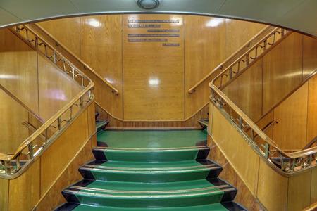 MURMANSK, RUSSIA - FEB 17, 2016: Stairs in the interior of the Soviet atomic icebreaker Lenin Editorial