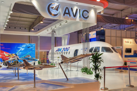 promising: ZHUKOVSKY, MOSCOW REGION, RUSSIA - AUG 30, 2015: International Aviation and Space salon MAKS-2015. The stand of the Chinese company AVIC International. Layout promising airliner ММ700