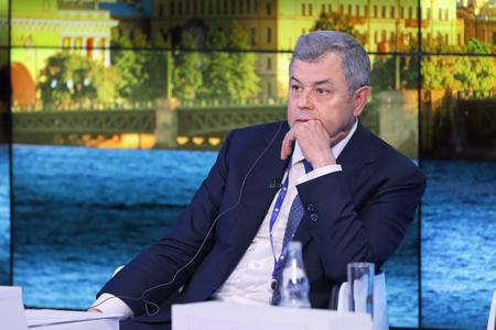 governor: SAINT-PETERSBURG, RUSSIA - JUN 17, 2016: St. Petersburg International Economic Forum SPIEF-2016. Anatoly Artamonov, Governor of Kaluga Region