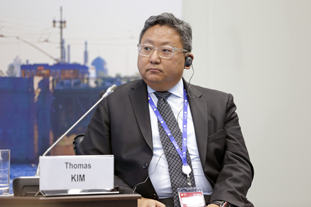 SAINT-PETERSBURG, RUSSIA - JUN 16, 2016: St. Petersburg International Economic Forum SPIEF-2016. Thomas S. Kim, Chief Compliance Officer, General Counsel of Global Growth & Operations, Thomson Reuters