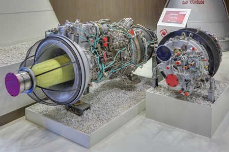 aeroengine: ZHUKOVSKY, MOSCOW REGION, RUSSIA - AUG 30, 2015: The stand of the United engine Corporation. Turboshaft engines of helicopters at the International Aviation and Space salon MAKS-2015 Editorial