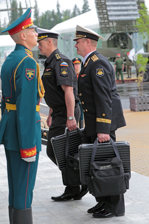KUBINKA, MOSCOW OBLAST, RUSSIA - JUN 16, 2015: Cheget (nuclear briefcase) control of Russias Strategic Nuclear Forces (SNF) belonging to the Minister of defence of Russia and President of Russia at the International military-technical forum ARMY-2015
