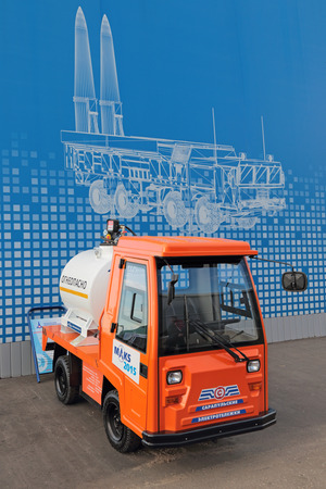 ZHUKOVSKY, MOSCOW REGION, RUSSIA - AUG 30, 2015: The small electric tanker at the International Aviation and Space salon MAKS-2015