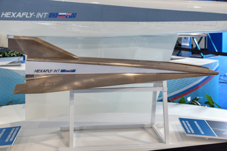 experimental: ZHUKOVSKY, MOSCOW REGION, RUSSIA - AUG 30, 2015: The HEXAFLY-INT - civil high-speed experimental fly vehicles at the International Aviation and Space salon MAKS-2015