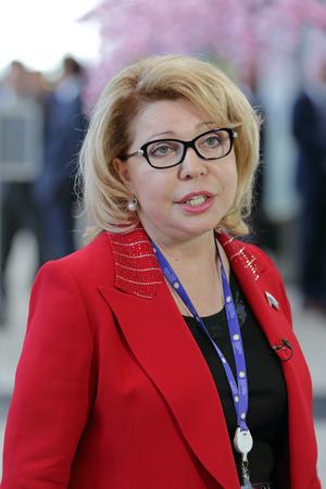 duma: SAINT-PETERSBURG, RUSSIA - JUN 17, 2016: St. Petersburg International Economic Forum SPIEF-2016. Elena Panina - Deputy of the State Duma, head of the Moscow Confederation of Industrialists and entrepreneurs