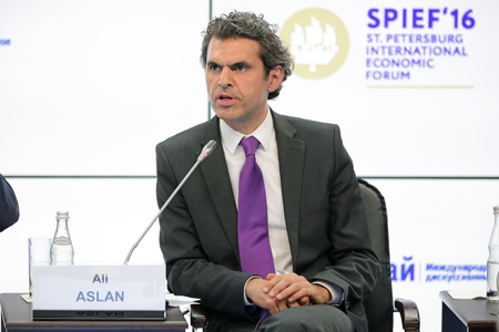 SAINT-PETERSBURG, RUSSIA - JUN 16, 2016: St. Petersburg International Economic Forum SPIEF-2016. Ali Aslan - German TV presenter, journalist and political analyst Editöryel