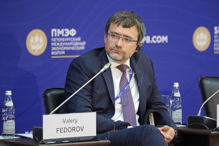 public opinion: SAINT-PETERSBURG, RUSSIA - JUN 17, 2016: St. Petersburg International Economic Forum SPIEF-2016. Valery Fedorov, Director General, Russian Public Opinion Research Center (VCIOM) Editorial