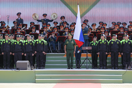 TRAINING GROUND ALABINO, MOSCOW REGION, RUSSIA - JUL 30, 2016: Sergey Kuzhugetovich Shoygu - Minister of Defence of the Russian Federation at the opening ceremony of the International army games - 2016