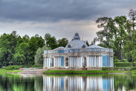 city pushkin: PUSHKIN, SAINT-PETERSBURG, RUSSIA - JUN 15, 2016: Tsarskoye Selo. The Hermitage pavilion in the Catherine Park