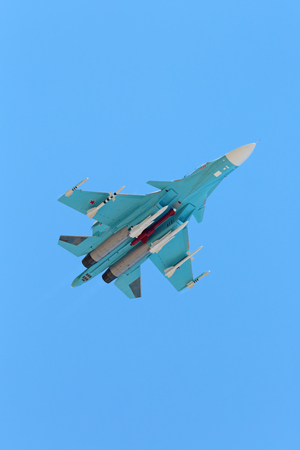 ZHUKOVSKY, RUSSIA - AUG 30, 2015: The Sukhoi Su-34 (Fullback) is a Russian twin-seat fighter-bomber at the International Aviation and Space salon MAKS-2015