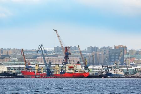 shiprepair: MURMANSK, RUSSIA - FEB 21, 2016: The cityscape, view of the Murmansk ship-repair factory of the sea Navy