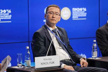 nikolay: SAINT-PETERSBURG, RUSSIA - JUN 18, 2016: St. Petersburg International Economic Forum SPIEF-2016. Nikolay Nikolyuk, Сhief Executive Officer, Сoncession of Water Supply Editorial