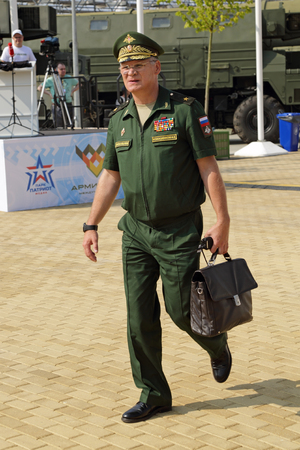 igor: TRAINING GROUND ALABINO, MOSCOW REGION, RUSSIA - JUL 30, 2016: Igor Konashenkov - Head of the press service and information of the Ministry of defense of the Russian Federation at the International army games - 2016
