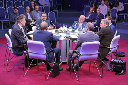 roundtable: SAINT-PETERSBURG, RUSSIA - JUN 16, 2016: St. Petersburg International Economic Forum SPIEF-2016. Roundtable Life after Sanctions: Re-Integrating Iran into the Global Economy