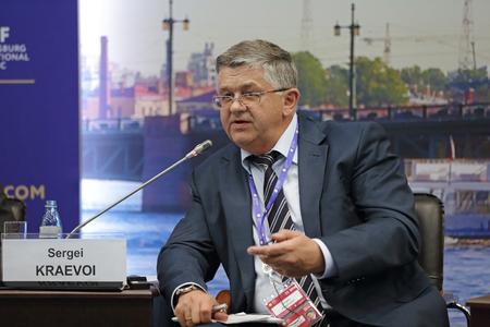 statesman: SAINT-PETERSBURG, RUSSIA - JUN 16, 2016: St. Petersburg International Economic Forum SPIEF-2016. Sergei Kraevoi, Deputy Minister of Healthcare of the Russian Federation