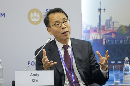 SAINT-PETERSBURG, RUSSIA - JUN 17, 2016: St. Petersburg International Economic Forum SPIEF-2016. Andy Xie, Independent Chinese economist based in Shanghai, and the former Morgan Stanley star chief Asia-Pacific economist