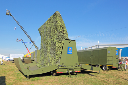 ranging: ZHUKOVSKY, MOSCOW REGION, RUSSIA - AUG 28, 2015: Mobile radar complex MS RLK, receiving post at the International Aviation and Space salon MAKS-2015 Editorial