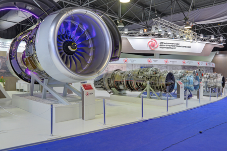 aeroengine: ZHUKOVSKY, MOSCOW REGION, RUSSIA - AUG 30, 2015: The stand of the United engine Corporation. Aircraft turbojet engines at the International Aviation and Space salon MAKS-2015 Editorial