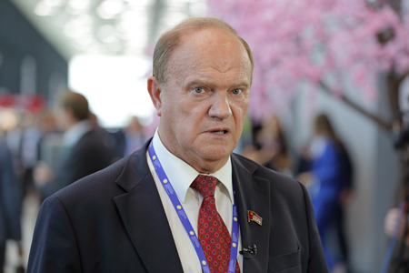 SAINT-PETERSBURG, RUSSIA - JUN 17, 2016: St. Petersburg International Economic Forum SPIEF-2016. Gennady Zyuganov - Deputy of the State Duma, First Secretary of the Central Committee of the Communist Party of the Russian Federation