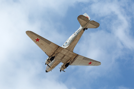 ZHUKOVSKY, MOSCOW REGION, RUSSIA - AUG 28, 2015: Douglas DC-3  C-47A Skytrain - American short-haul transport aircraft designed in 1935 by the Douglas Aircraft Company at the International Aviation and Space salon MAKS-2015 Editorial