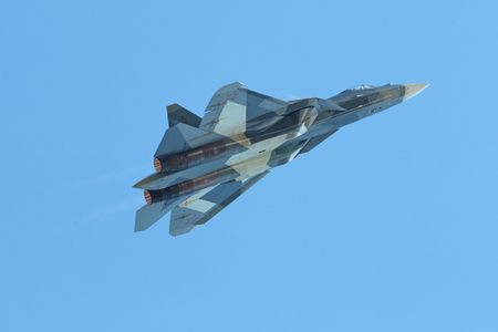 ZHUKOVSKY, MOSCOW REGION, RUSSIA - AUG 30, 2015: Flight demonstration Sukhoi PAK FA T-50 (Prospective Airborne Complex of Frontline Aviation) fifth-generation jet fighter at the International Aviation and Space salon MAKS-2015 Editorial