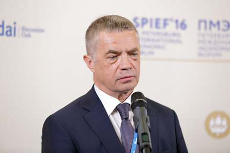 comité d entreprise: SAINT-PETERSBURG, RUSSIA - JUN 16, 2016: St. Petersburg International Economic Forum SPIEF-2016. Alexander Medvedev - Deputy Chairman of the Management Committee of Russian energy company Gazprom