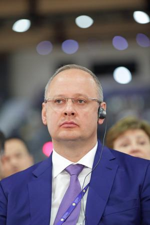 SAINT-PETERSBURG, RUSSIA - JUN 16, 2016: St. Petersburg International Economic Forum SPIEF-2016. Anton Kobyakov - the adviser of the President of Russia, Deputy Chairman of the organizing Committee Editorial