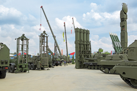 industrially: KUBINKA, MOSCOW REGION, RUSSIA - JUN 15, 2015: International military-technical forum ARMY-2015 in military-Patriotic park. The outdoor exhibition, samples of military equipment Editorial