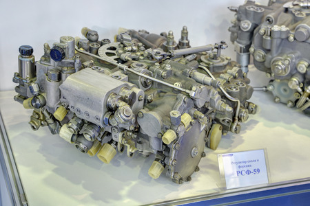 aeroengine: ZHUKOVSKY, MOSCOW REGION, RUSSIA - AUG 29, 2015: Exhaust nozzle and augmentor control of the turbofan jet engine Klimov RD-33 at the International Aviation and Space salon MAKS-2015 Editorial