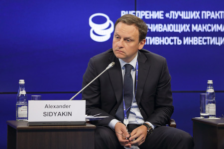 comité d entreprise: SAINT-PETERSBURG, RUSSIA - JUN 18, 2016: St. Petersburg International Economic Forum SPIEF-2016. Alexander Sidyakin, Deputy Chairman of the State Duma Committee on Housing Policy and Housing and Communal Services