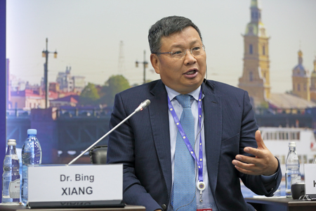 founding: SAINT-PETERSBURG, RUSSIA - JUN 17, 2016: St. Petersburg International Economic Forum SPIEF-2016. Dr. Bing Xiang, Founding Dean and Professor of China Business and Globalization, Cheung Kong Graduate School of Business (CKGSB)