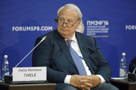 knorr: SAINT-PETERSBURG, RUSSIA - JUN 17, 2016: St. Petersburg International Economic Forum SPIEF-2016. Heinz Hermann Thiele, Owner, Chairman of the Supervisory Board, Knorr-Bremse AG