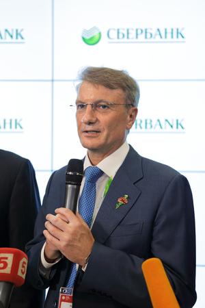 herman: SAINT-PETERSBURG, RUSSIA - JUN 16, 2016: St. Petersburg International Economic Forum SPIEF-2016. Herman Oskarovich Gref - CEO and Chairman of the Executive Board of the largest Russian bank Sberbank. Editorial