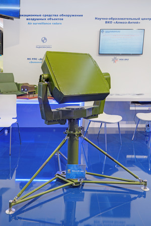 radio unit: ZHUKOVSKY, RUSSIA - AUG 28, 2015: Radar positioning system for landing UAVs Orion at the International Aviation and Space salon MAKS-2015 Editorial
