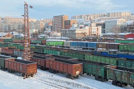 MURMANSK, RUSSIA - FEB 16, 2016: Train station Murmansk, freight wagons Editorial