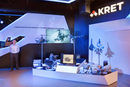damping: ZHUKOVSKY, MOSCOW REGION, RUSSIA - AUG 25, 2015: Pavilion of company KRET (Concern Radio-Electronic Technologies). Equipment electronic warfare and public recognition at the International Aviation and Space salon MAKS-2015