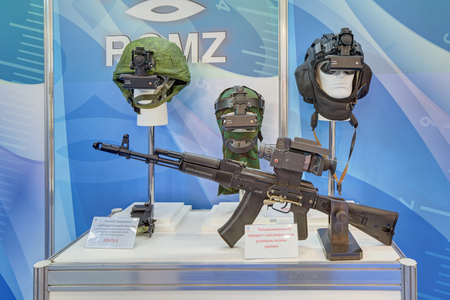 night vision: KUBINKA, MOSCOW OBLAST, RUSSIA - SEP 06, 2016: Thermal sight and night vision devices ROMZ at the International military-technical forum ARMY-2016