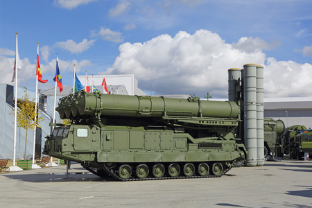 long range: KUBINKA, MOSCOW OBLAST, RUSSIA - SEP 06, 2016: The S-300 (SA-10 Grumble) is a Russian long range surface-to-air missile system produced by NPO Almaz Antey at the International military-technical forum ARMY-2016 in military-Patriotic park