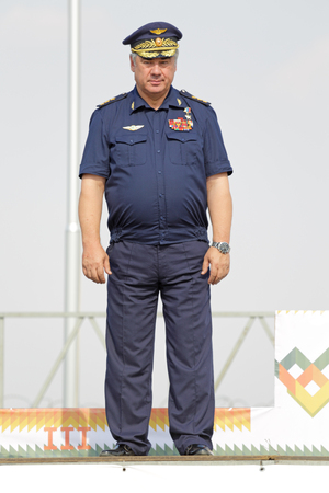 ASHULUK TRAINING AREA, ASTRAKHAN REGION, RUSSIA - AUG 07, 2016: Viktor Bondarev - Commander-in-Chief of the Russian Air Force in the contest Keys to the sky within the International army games - 2016