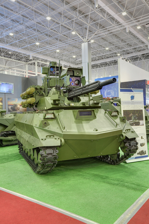 KUBINKA, MOSCOW OBLAST, RUSSIA - SEP 06, 2016: Military multifunctional robotic complex Uran-9 at the International military-technical forum ARMY-2016