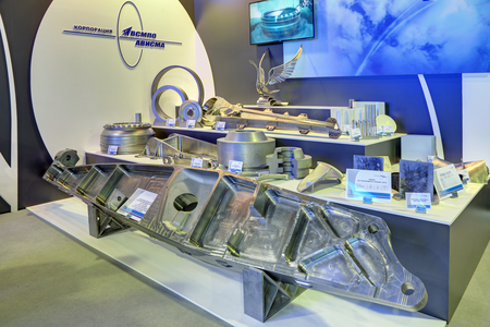 castings: ZHUKOVSKY, MOSCOW REGION, RUSSIA - AUG 26, 2015: The samples of metal products of the aviation industry manufactured VSMPO-AVISMA Corporation at the International Aviation and Space salon MAKS-2015 Editorial