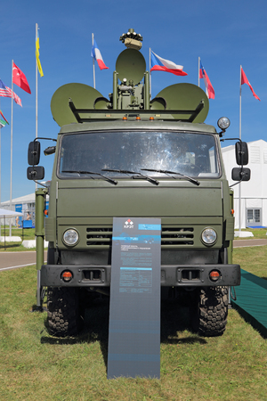 damping: ZHUKOVSKY, MOSCOW REGION, RUSSIA - AUG 24, 2015: Ground jamming the radar of enemy air-based at the International Aviation and Space salon MAKS-2015